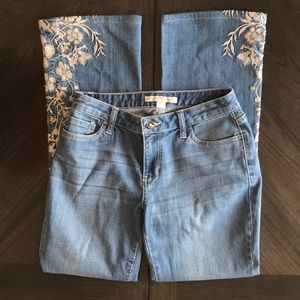 Boston Proper Blue Jeans Floral Embroidery Size 4